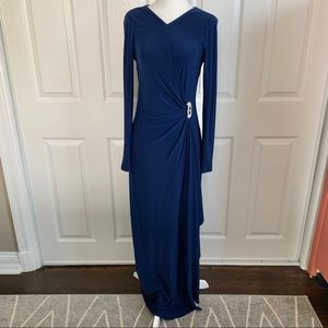 Lauren Ralph Lauren Blue Stretch Faux Wrap Gown